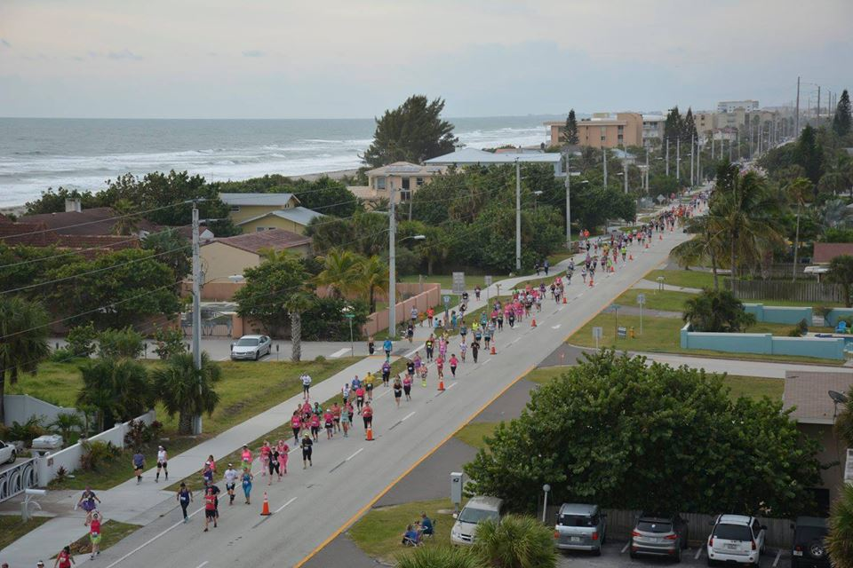 Runners were strung out for miles along coastal road A1A